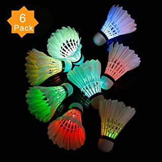 ZHENAN 6 Pack LED Badminton Shuttlecocks Lighting Birdies Shuttlecock Glow in The Dark Badminton for Indoor/Outdoor Sports Activities,Pack of 4/5/6