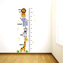 Decal O Decal Growth Chart with Wild Animals Wall Stickers (PVC Vinyl,Multicolour)