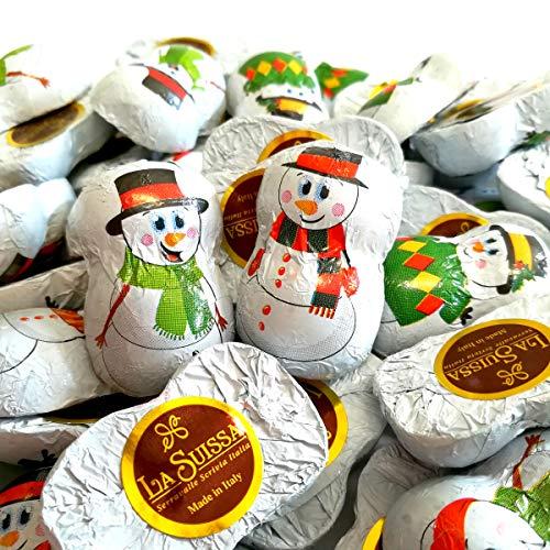 Pupazzo di Neve di Cioccolato La Suissa Kg 1 - Cioccolatini al Latte ripieni alla crema Gianduia a forma di Pupazzi di Neve - Senza Glutine