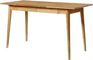 NORDICSTORY Table de bureau avec 2 tiroirs en bois massif chêne, idéale pour ordinateur PC, bureau pour enfants, meubles d...