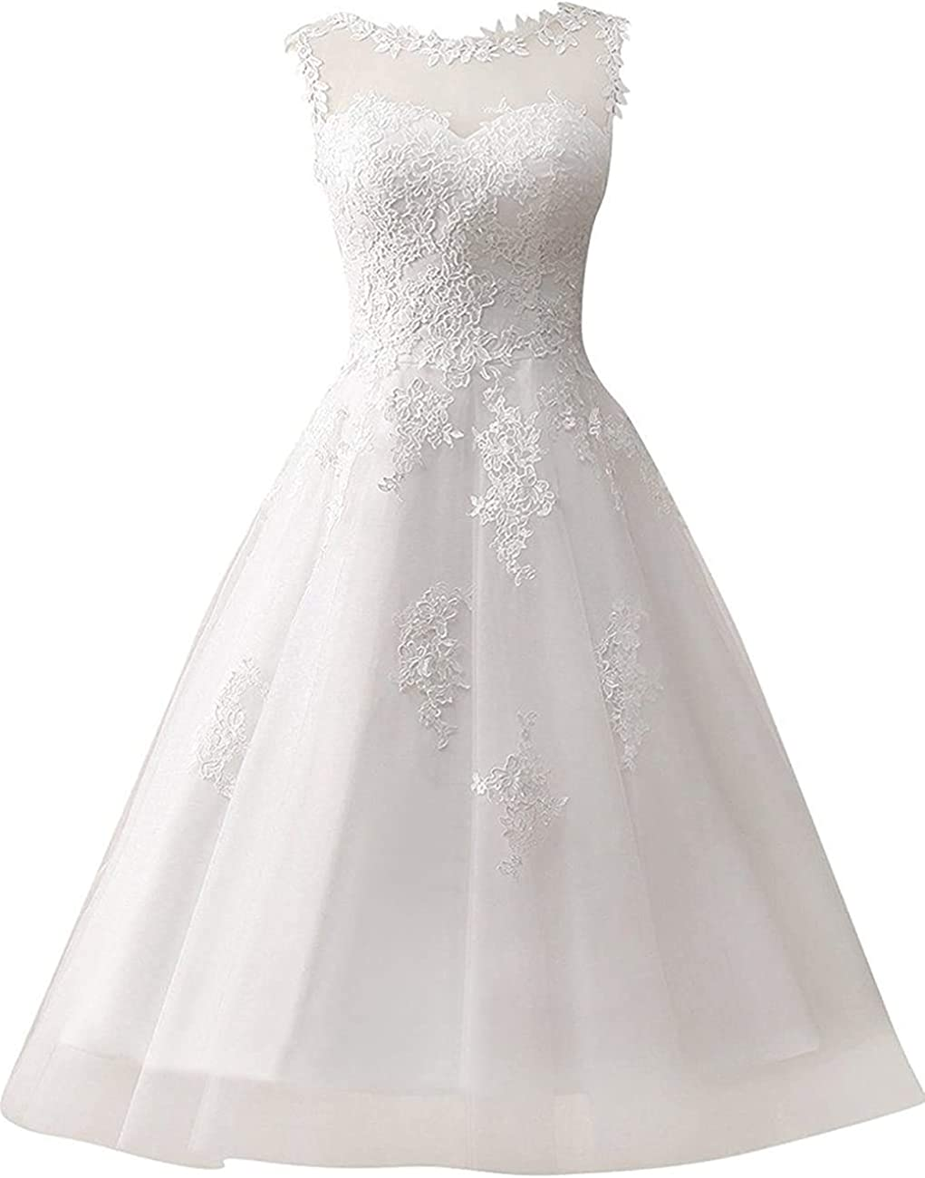 Melisa Women's A line Lace Beach Wedding Dresses for Bride with Short Length Bridal Gown Plus Size