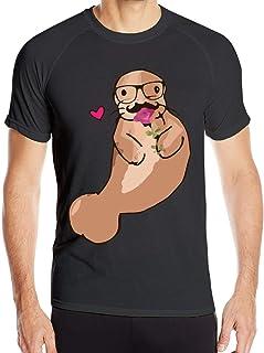 メガネ付きスタジオマナティーが大好きメンズ半袖TシャツクイックドライランニングTシャツ