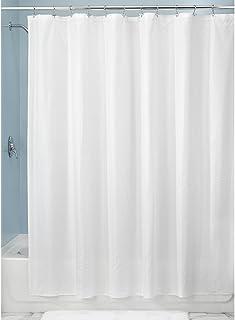 InterDesign Herringbone Soft Fabric Shower Liner, 72 x 72, White