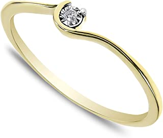 f0c829cc3eb35f Buy Jewels 14k Solid Gold Minimalist Dainty Promise Stacking Ring for Women  with Natural Diamond in