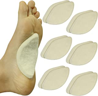 ViveSole Arch Support Pads (6 Pairs) Adhesive Felt Foot Insert - Men Women - for Shoes, Sandals, Flip Flops, Boots, High Heels, Flat Feet, High Arches, Plantar Fasciitis