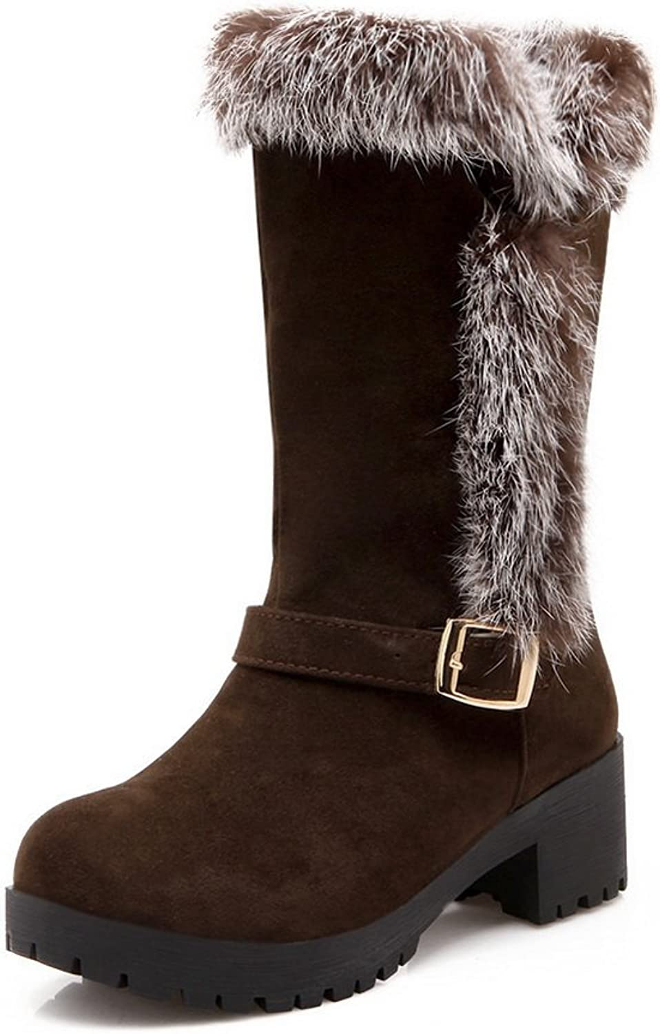 1TO9 Girls Fur Ornament Buckle Chunky Heels Frosted Boots