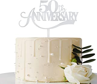 Maicaiffe Mirror Silver 50th Anniversary Acrylic Cake Topper - for 50th Wedding Anniversary / 50th Anniversary Party / 50t...