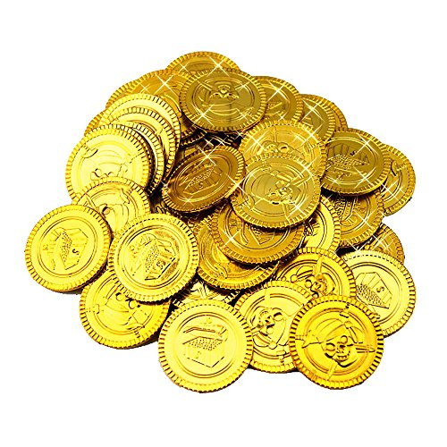 100 Pcs Pirate Treasure Coins Toy Coins for Party Supplies Props Decoration (Gold)