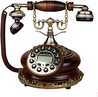 WXL Oak Button Dialing Phone Antique Landline Used for Office Family Decoration (Color : Oak Button Dialing)
