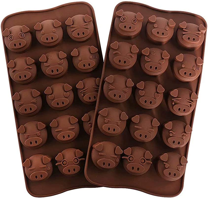 77L Candy Molds Set Of 2 15 Cavity Pig Head Shape Mold DIY Silicone Chocolate Molds For Home Baking Reusable Baking Molds For Candy Chocolate Jelly Or More Brown