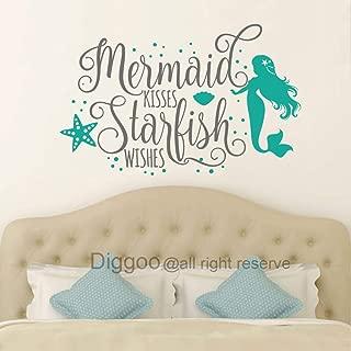 Diggoo Wall Decal Mermaid Kisses Starfish Wishes Wall Quote Girls Bedroom Decor Mermaid Wall Art Nautical Nursery Decor (Gray + Teal,31.5