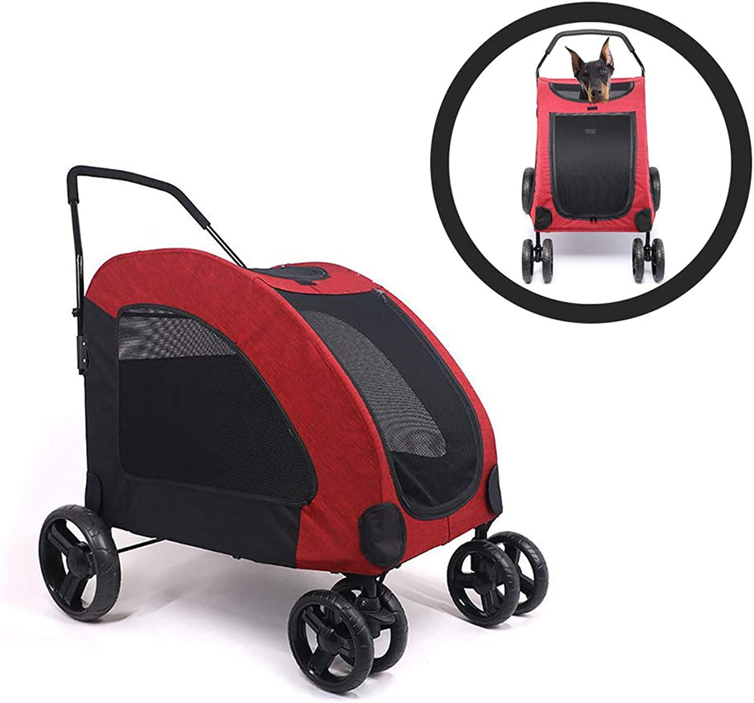 DJLOOKK Pet FourWheeled Stroller Cat Dog Stroller Foldable Extra Large Pet Stroller Dog Trolley With Top Window For Medium Large Dogs Outgoing, Load Within 60Kg,Red