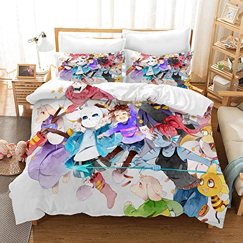 Yooseso 3D Bedding Set Cartoon Anime Girl Super King 260 X 230 Cm Duvet Cover And 2 Pillowcases 50X75Cm Kids Boy Teenager Microfiber Soft And Breathable Bedding For Boys And Girls
