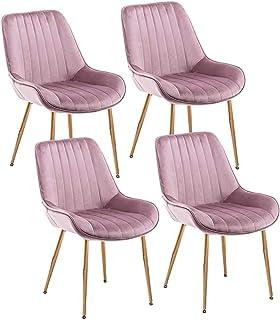 ZCXBHD Sillas Conjunto de 4 Piezas Contador Cocina sillas Comedor Salón Ocio habitación Esquina sillas Terciopelo sillas recepción con Respaldo y Asiento Acolchado (Color : Purple)