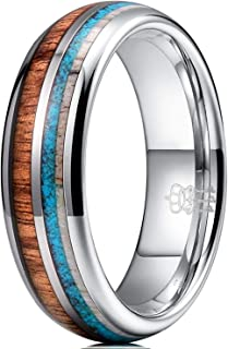 Three Keys Jewelry 8mm Tungsten Wedding Ring Koa Wood Antler Turquoise Inlay Vikings Hunting Ring Band