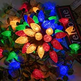 AWQ 100LED 81 FT C9 Christmas String Lights Plug in Fairy Twinkle String Lights 8 Modes Timer Function Waterproof Extendable for Indoor Outdoor Wedding Party Christmas Decoration (100, Multicolor)