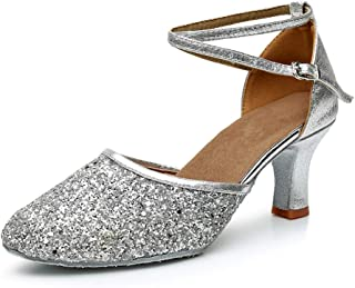 c4efbd846fa0 FREE Shipping on eligible orders. GetMine Womens Latin Dance Shoes Heeled  Ballroom Salsa Tango Party Sequin Dance Shoes