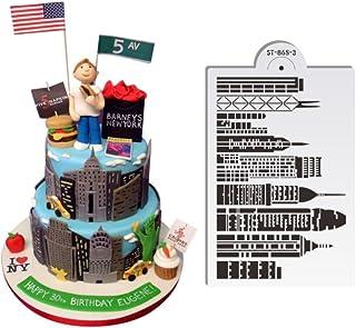 "ART Kitchenware 1pcs 7.8""x 5"" Skyscrapers Plastic Stencil Template for Cake Decorating Supplies Cake Border Decoration Mold Bakery Tools Semitransparent Dessert Tools ST-865-3"