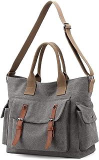YANAIER Damen Canvas Schultertasche Handtasche Groß Vintage Umhängetasche Multi-Beutel Hobo Shopper Tasche Grau