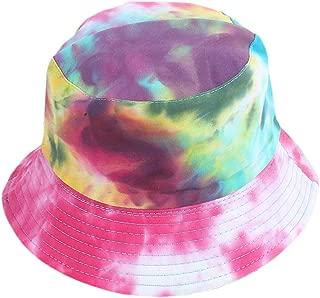 Women Reversible Tie Dye Bucket Hat Multicolored Fisherman Cap Packable Sun Hat