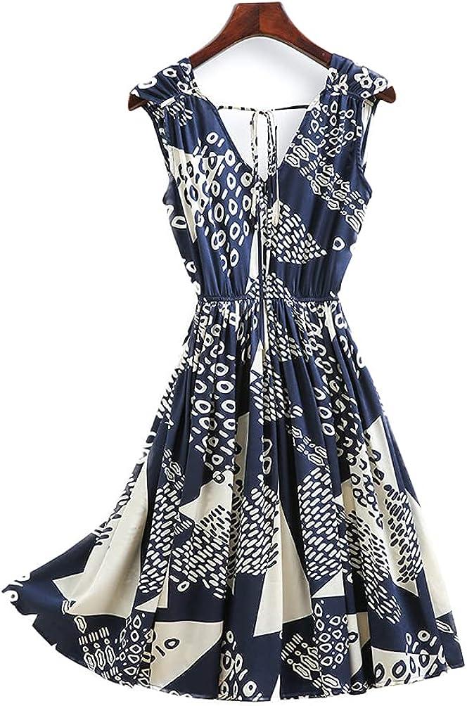 CLC Women's Silk Summer Dress A-line Vintage Printed Dress