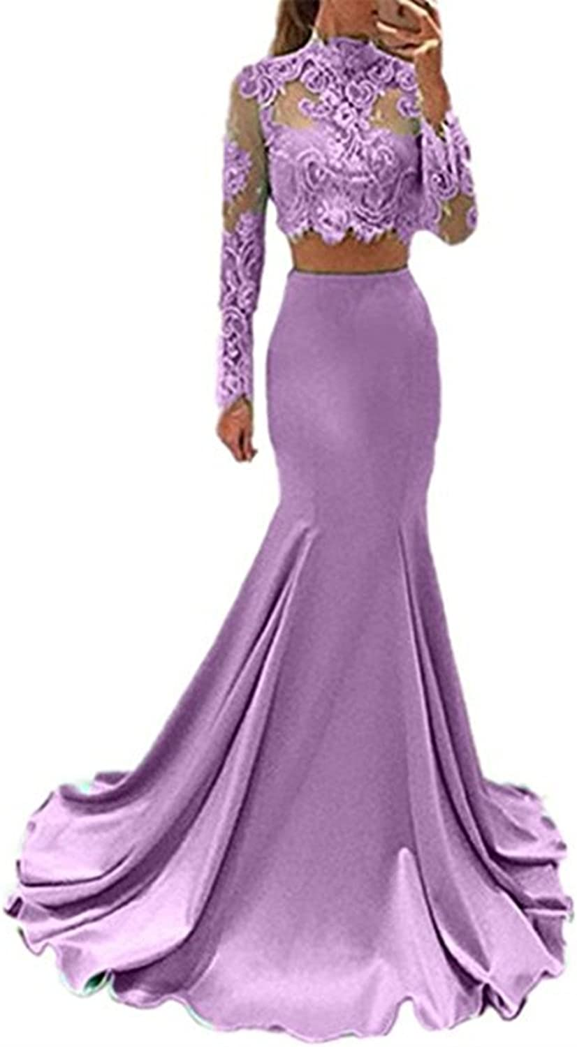 LEJY Women's Two Pieces Mermaid Prom Dress Lace Long Sleeve High neck Evening Dress