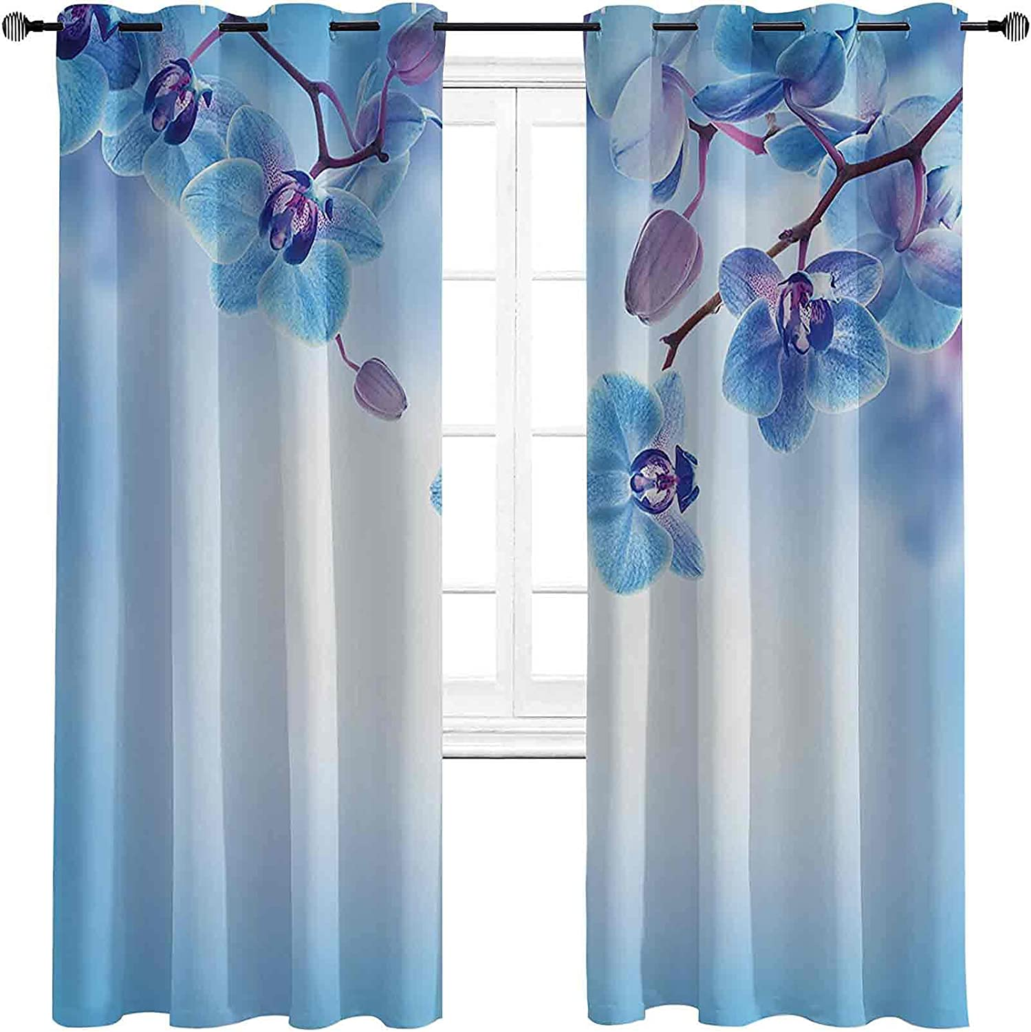 Flower Max 42% OFF Decor Bedroom Blackout Curtains Orchids Chicago Mall Flowers Natural