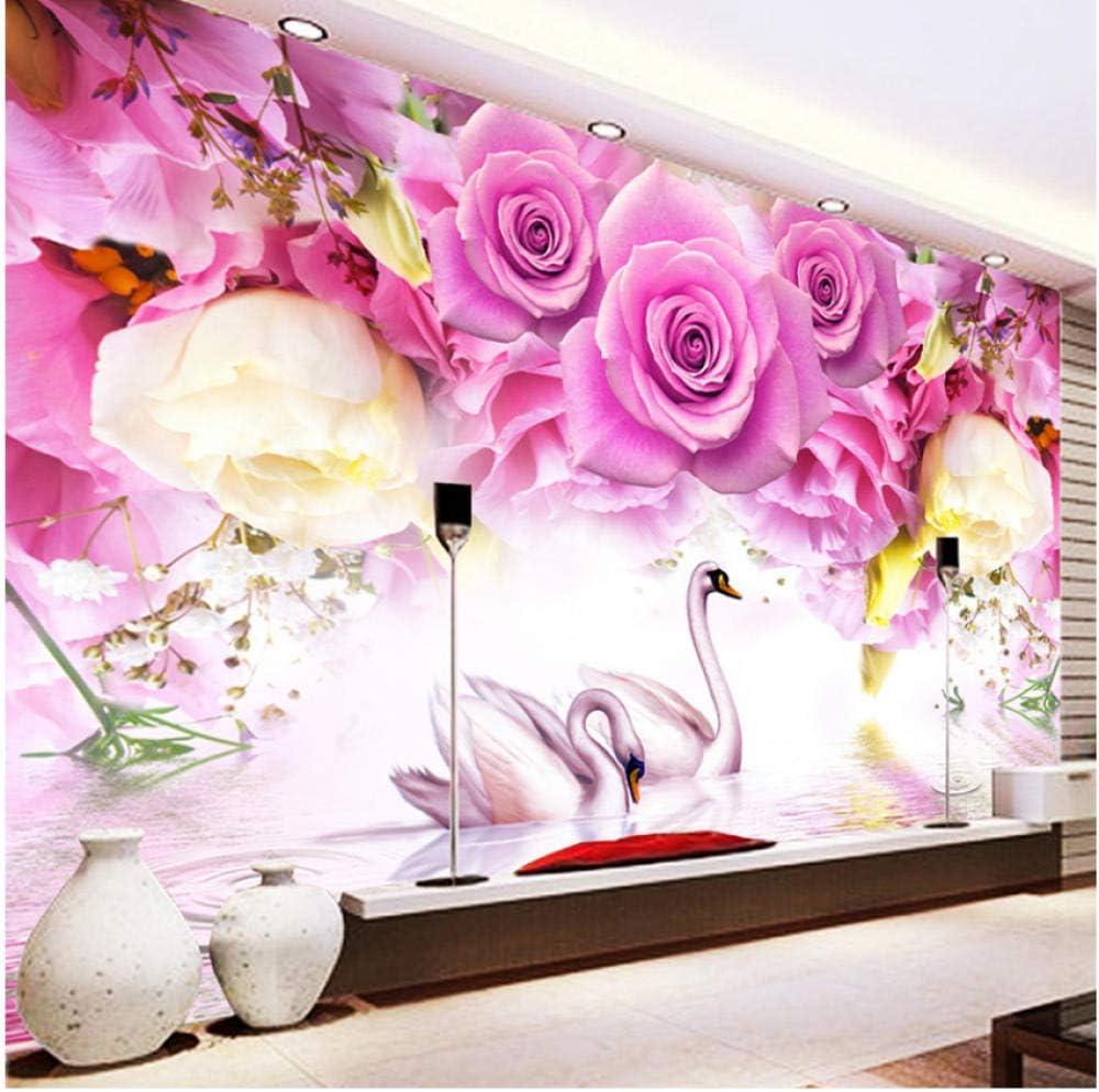 Very popular xbwy Photo Wallpaper Modern Purple Rose Wall 3D Mur Translated Swan Fashion