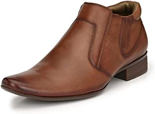 HITZ Brown High Ankle Leather Shoes for Men
