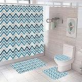 3D Gedruckter Duschvorhang 180x200 cm Graublaue geometrische Wellen Wasserdicht Antibakterielles Duschvorhang gesetzt Polyester rutschfest Badematte Waschmaschinenfest
