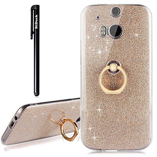 BtDuck Gold Handyhülle HTC One M8 Glitzer Soft Hülle Transparent Silikon Glitzer Papier 2 in 1 Schutzhülle Smartphone Halter Ständer Ringhalter Metall Ring Hülle für HTC One M8