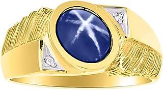 RYLOS - Juego de anillos de plata chapada en oro amarillo de 14 quilates con piedra preciosa y diamante natural en forma o...