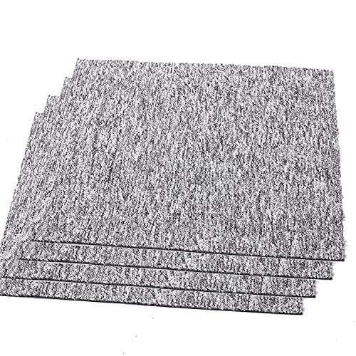 20 Stück Teppichfliesen Selbstliegend, Fliesen Teppiche je 50x50 cm Teppichboden, Bodenfliesen mit Rutschhemmendem Rücken, Gesamtfläche 5 m² (Hellgrau)