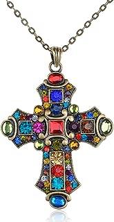 Ornate Antique Golden Tone Colorful Rhinestone Cross Pendant Necklace