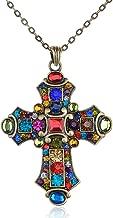 Alilang Ornate Antique Golden Tone Colorful Rhinestone Cross Pendant Necklace