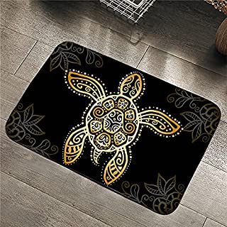 OPLJ Gyllene sköldpaddsmattor, badrumsmattor, djurmattor, bohemiska gula dörrmattor, utomhusdörrmattor A2 50 x 80 cm