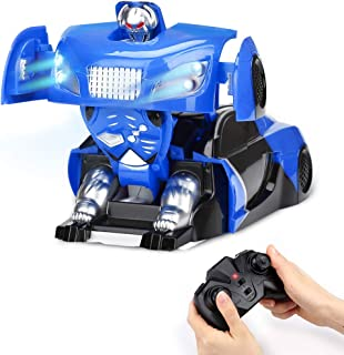 Ansee Wall Climbing Car RC Transformer Car with Gravity Defying USB Rechargeable 360°Rotating Cool LED Headlights One Button Deformation Best Gift for Kids Children