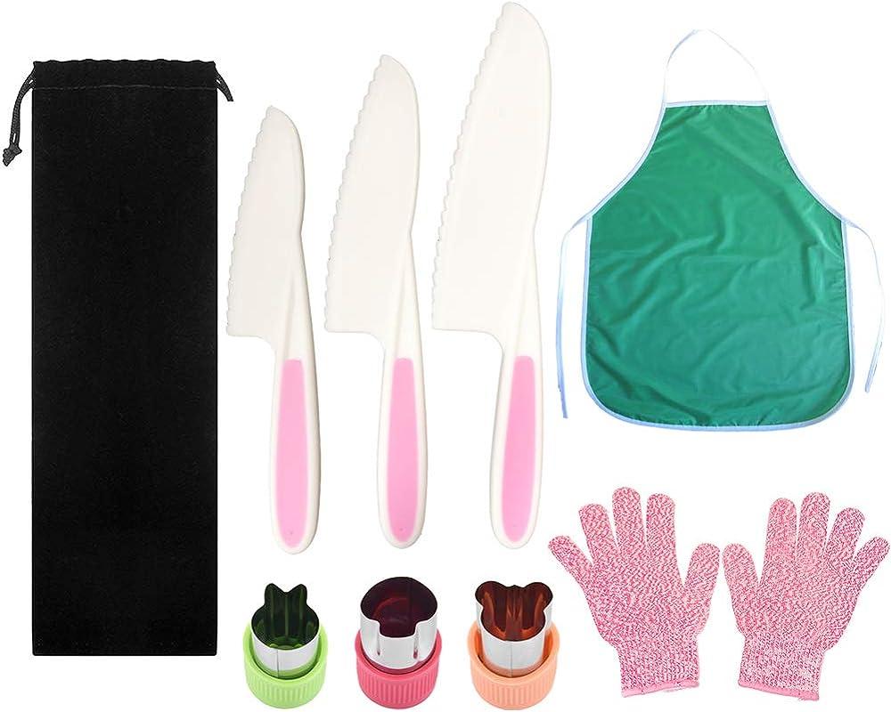 Pocomoco Kids Kitchen Knife Set Children Safe Cooking Plastic Knives Set With Kids Apron Cut Resistant Gloves Ages 6 12 Vegetables Cutters Perfect For Fruit Bread Cake Lettuce Salad Pink