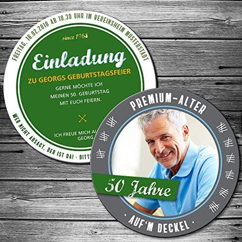 50 Einladungen als Bierdeckel mit persönlichem Foto Bierfilz Geburtstagseinladung (x) Jahre auf'm Deckel Bieruntersetzer Bierfilz originelle individuelle Einladungskarte Party Biergarten Bier-Party