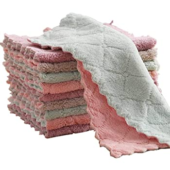 """10-Pack 9.85""""x9.85"""" Microfiber Cleaning Cloth,Dish Towels , Double-Sided Dish Drying Towels,Reusable Household Cleaning Cloths for House Furniture Table Kitchen Dish Window Glasses"""