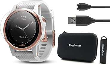 PlayBetter Garmin Fenix 5S Sapphire (Rose Gold with White Band) Power Bundle | Includes HD Screen Protectors, Hard Case & PlayBetter Portable Charger | Multi-Sport Watch, Sapphire | Bundle