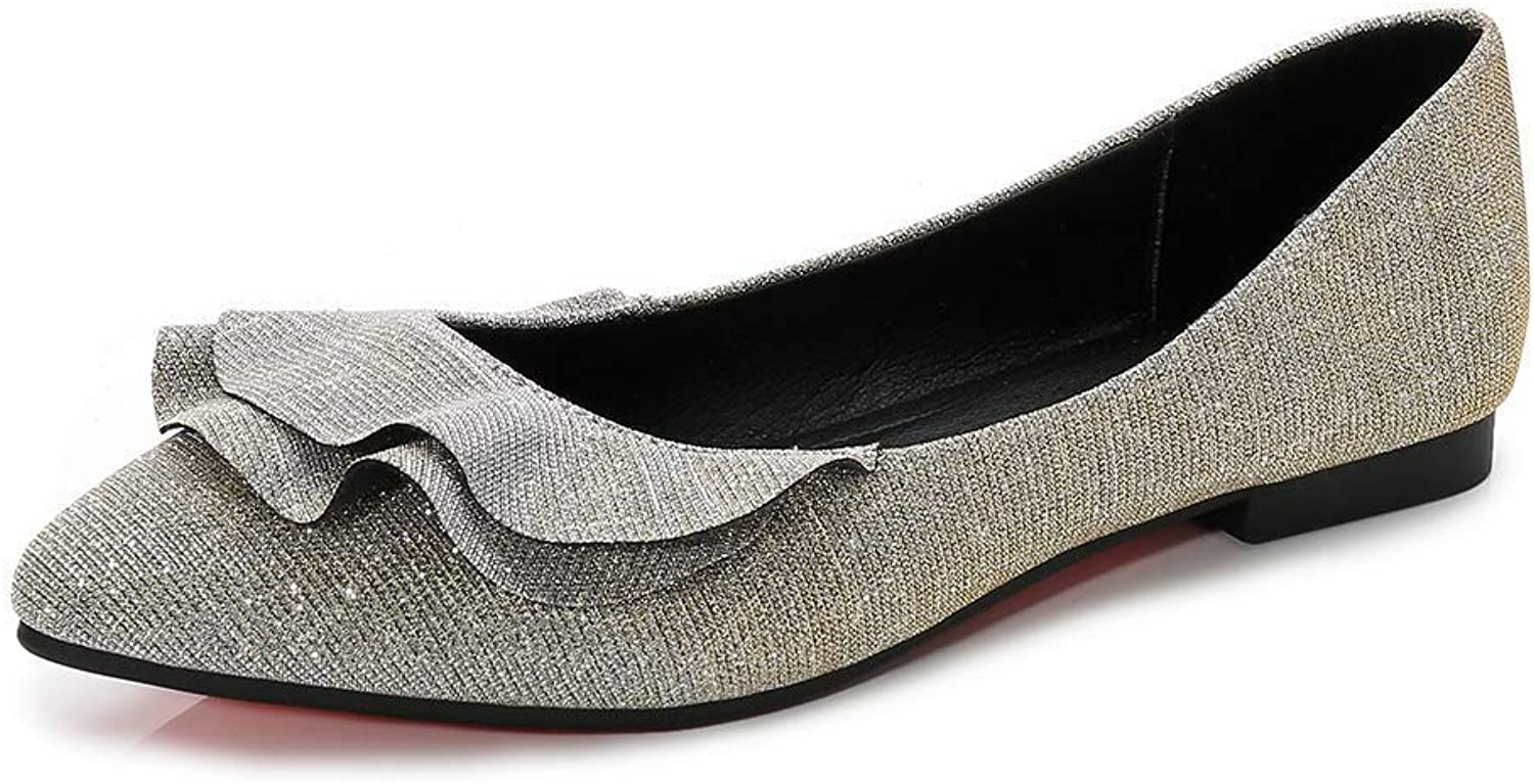A-LING Womens shoes Faux Suede Slip On Scallped Collar Glitter Pointed Toe Ballet Flats