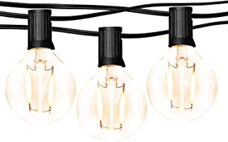 hykolity 24FT LED Outdoor Globe String Lights with 12 Hanging Sockets, Dimmable 14x1W Vintage Edison Bulbs(2 Spare), Warm White Waterproof Patio String Lights for Garden Backyard Bistro Pergola