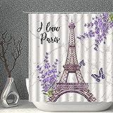 lovedomi Cortina de ducha vintage París Torre Eiffel púrpura lavanda flor mariposa decoración baño cortina de ducha de tela de poliéster 182.88 x 183 cm set de accesorios de baño