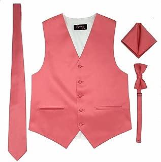 Spencer J's Men's Formal Tuxedo Suit Vest Tie Bowtie and Pocket Square 4 Peace Set Verity of Colors