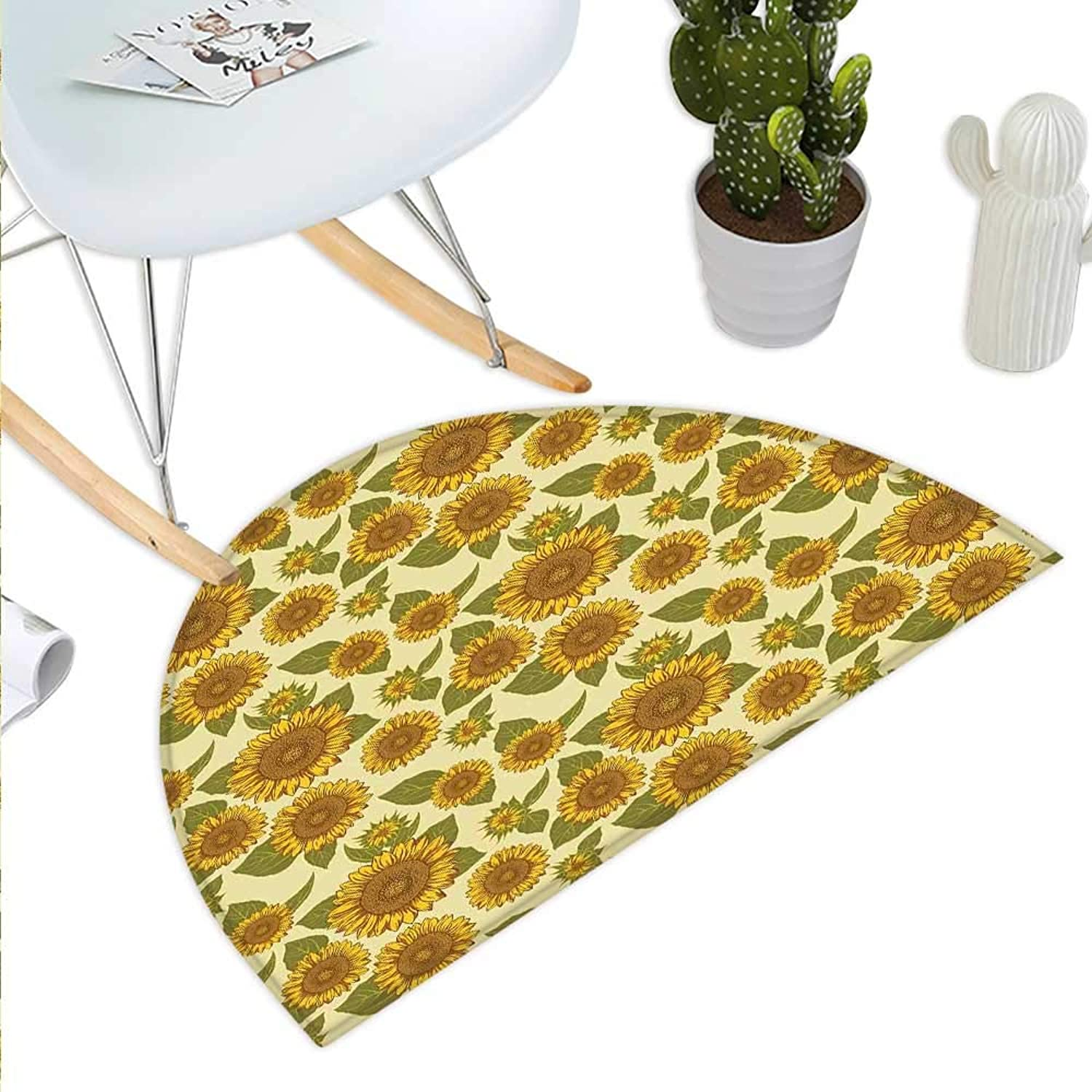 Sunflower Semicircle Doormat Funky Style Sunflower in Pastel colors Old Fashioned Nostalgic Vintage Print Halfmoon doormats H 23.6  xD 35.4  Green Yellow