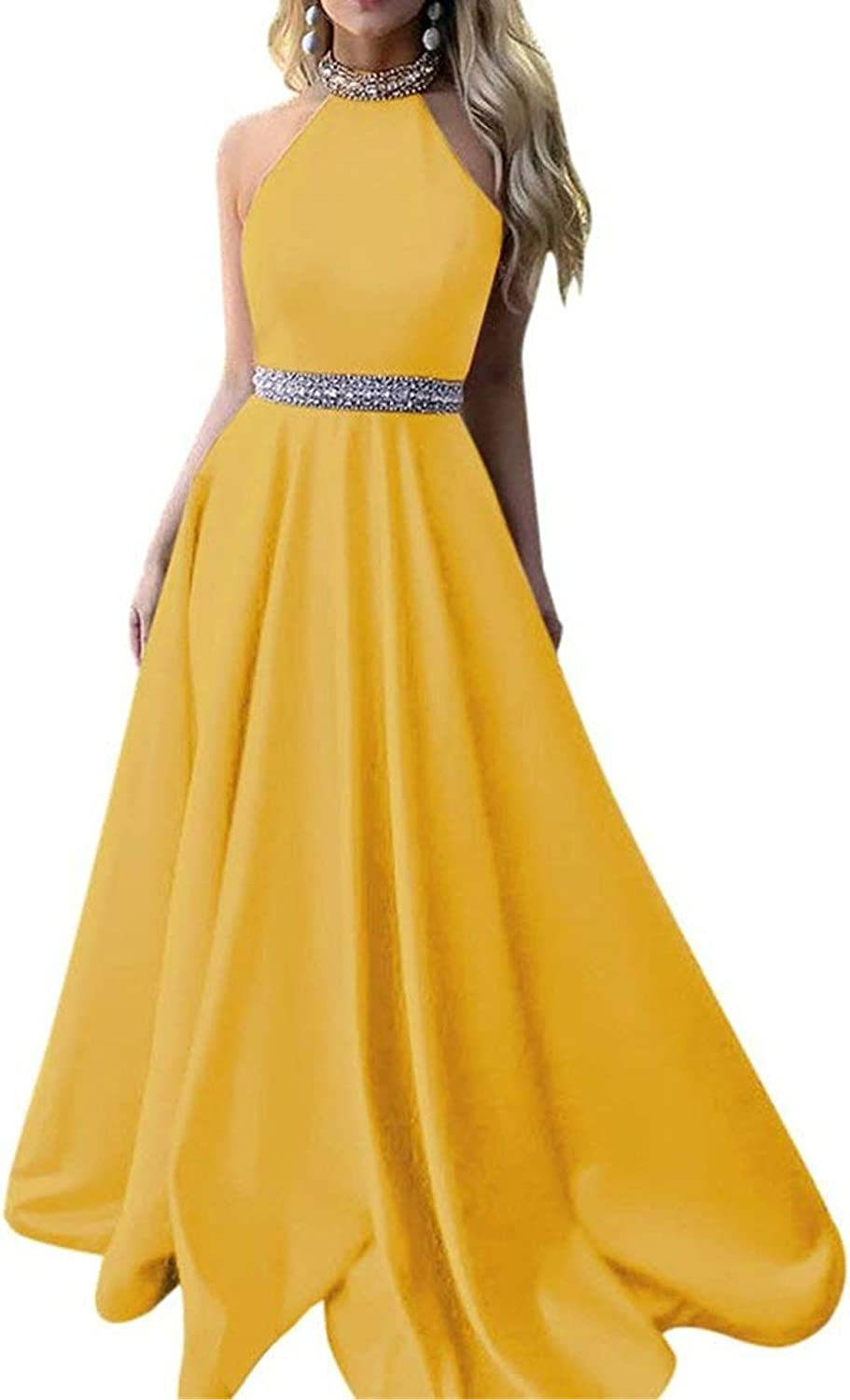 Women's Beaded Prom Dress Halter A Line Satin Formal Gowns Long