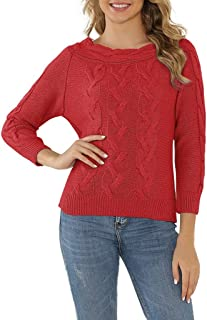 Zlolia Women's Solid Color Pattern Knit Sweater Round Neck Long Sleeve Pullover Ladies Winter Warm Tops Blouses