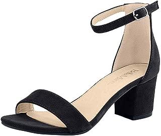 Bella Marie Women's Strappy Open Toe Block Heel Sandal