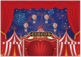 Allenjoy 7x5ft Big Top Circus Theme Carnival Birthday Party Backdrop Red Tent Fireworks Ferris Wheel Baby Shower Boys Girls First Bday Decorations Background Table Banner Photobooth Props